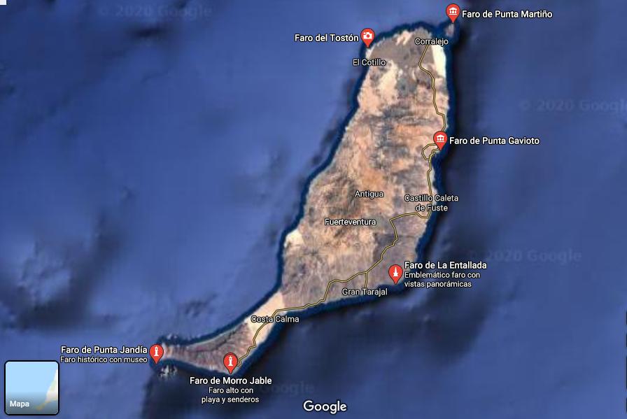 Mapa de faros en Fuerteventura